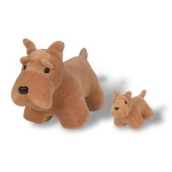 Cachorro Pelúcia Schnauzer com Filhote - Bichos de Pano